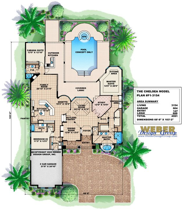 Tuscan House Plan Mediterranean Tuscan Home Floor Plan With Cabana Basement House Plans Tuscan House Plans How To Plan