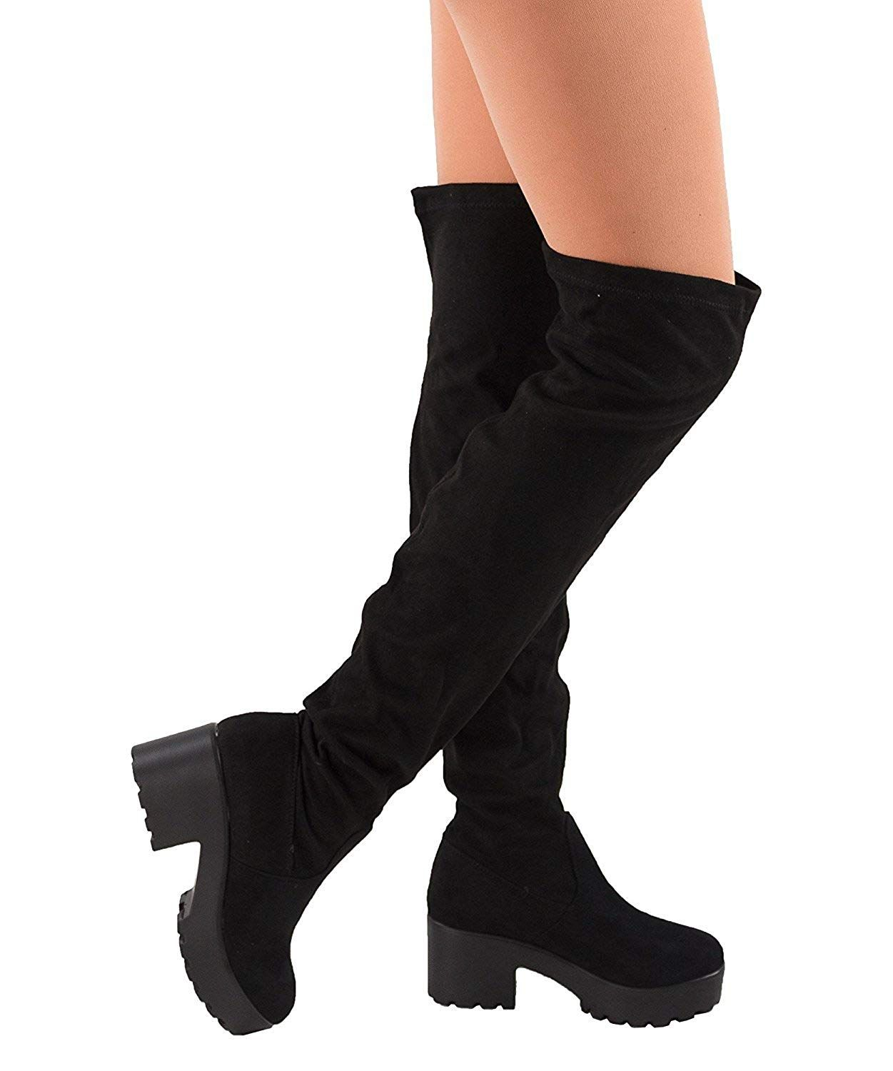 e28fac1fca3a Womens Thigh High Platform Boots Sexy Chunky Block Heel Stretch Pull on Over  The Knee Tall Boots. For stylish over the knee platform boots