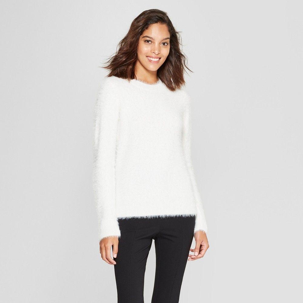 Women s Crewneck Eyelash Pullover Sweater - A New Day Cream (Ivory) Xxl a7cec09d1