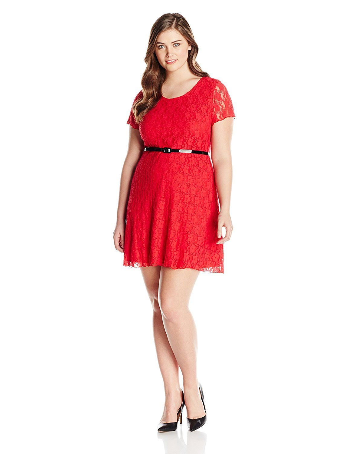 efbfda5f02 Star Vixen Women's Plus-Size Short Sleeve Lace Skater Dress with Belt **  Special product just for you. See it now! : Clothing for Plus size