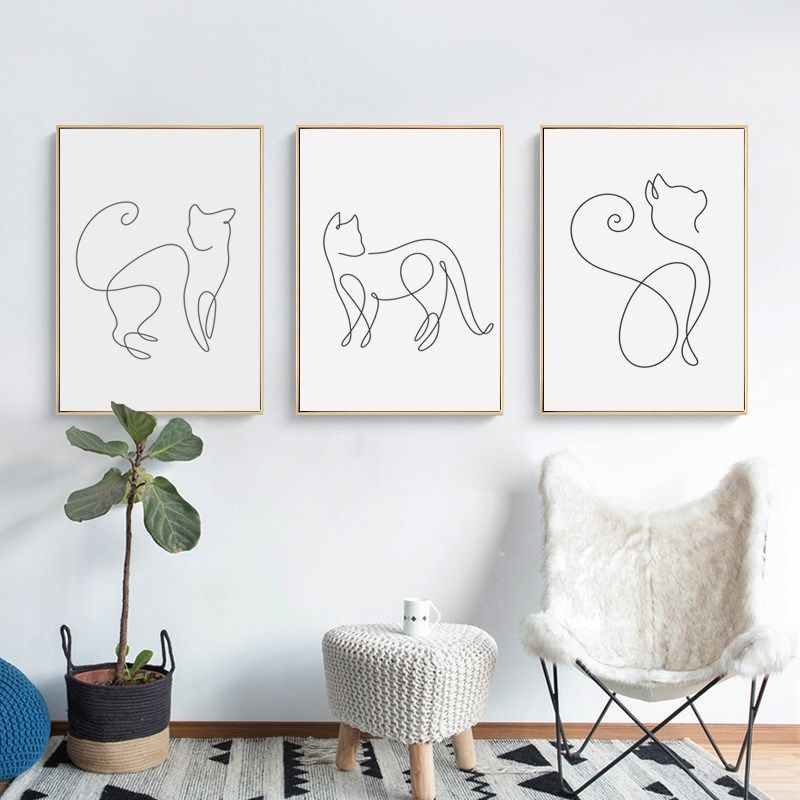 Abstract Line Curve Cat Animal Canvas Poster - Purrguin   - Dipinti #Abstract #Animal #Canvas #Cat #Curve #Dipinti #Line #Poster #Purrguin #CatPlayground #Cat #Playground