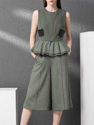 617825a94aef Army Green Ruffled Sleeveless Wool Plain Jumpsuit Wide Leg Pants