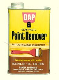 DAP semi-paste paint remover, complete with canary yellow packaging