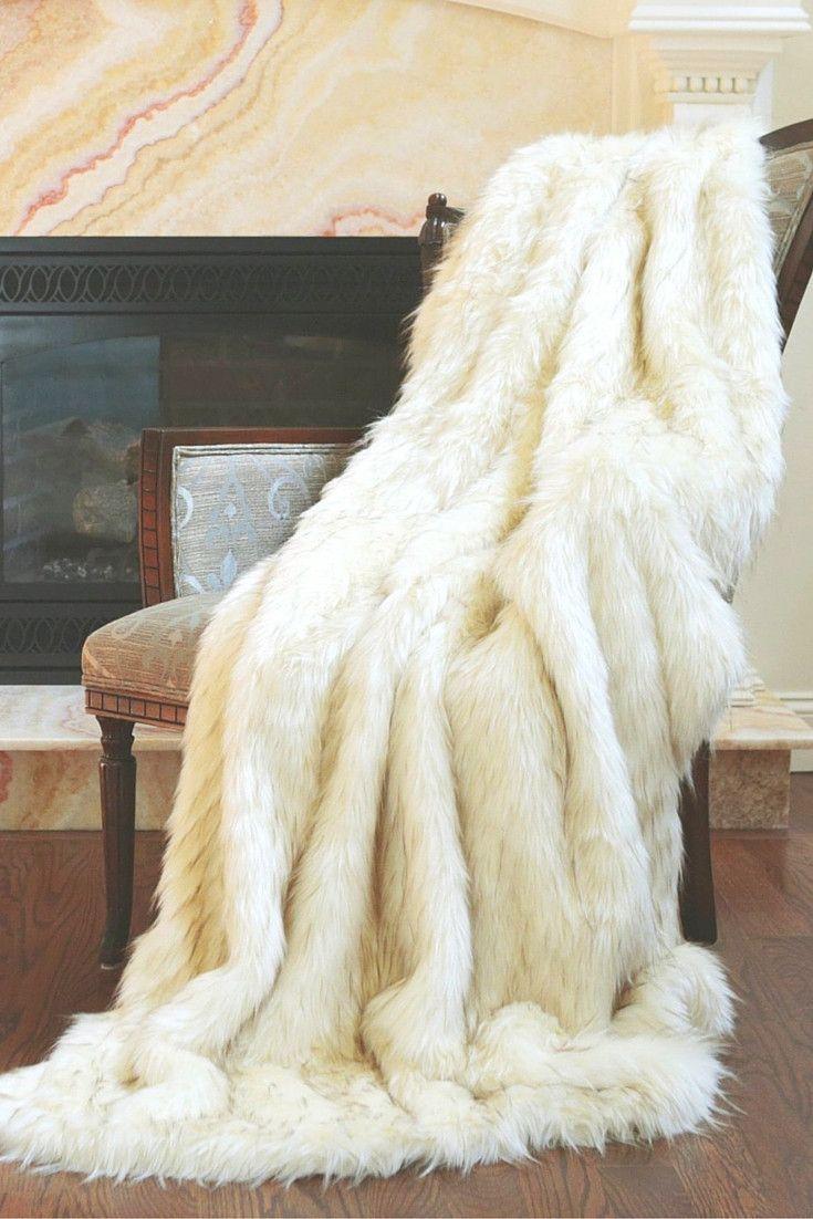 Arctic Fox Faux Fur Throw Blanket Wohnen Decken Flauschig