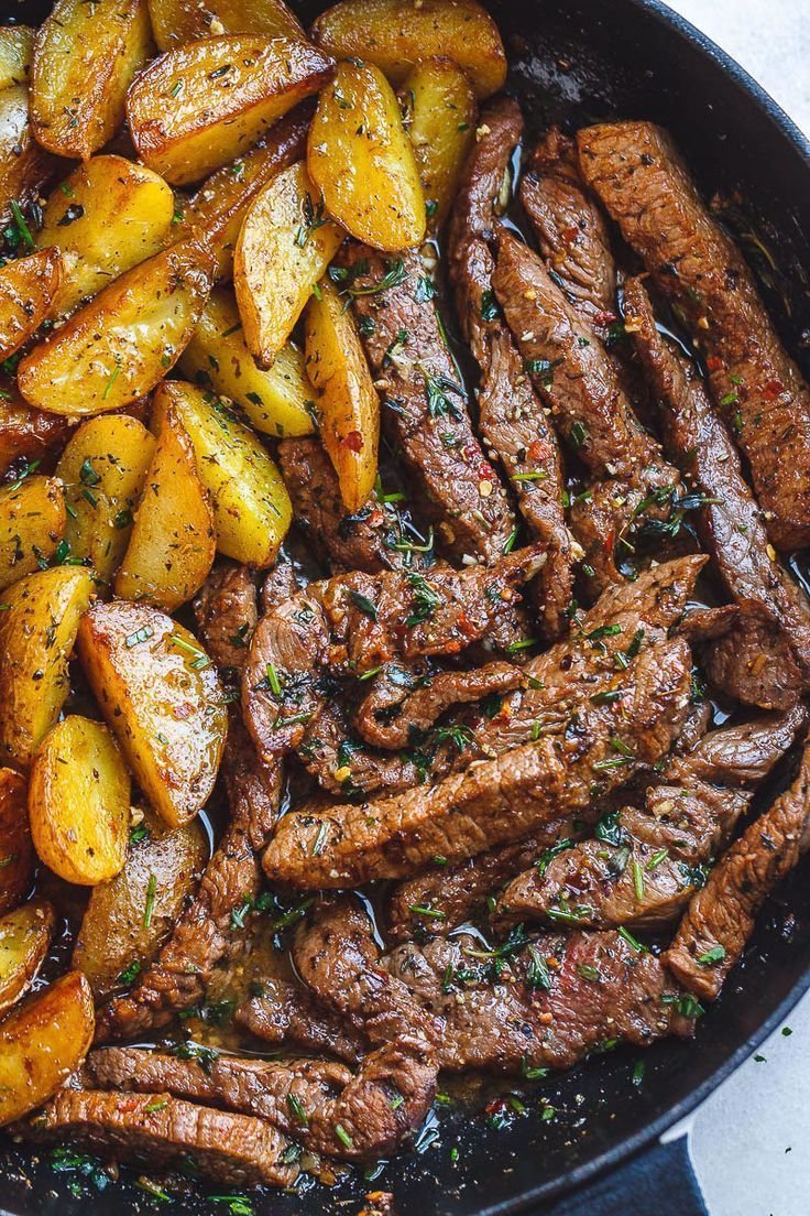 Garlic Butter Steak and Potatoes Skillet rezept kuchen,rezepte dinner,kuchen rezepte einfach,kuchen