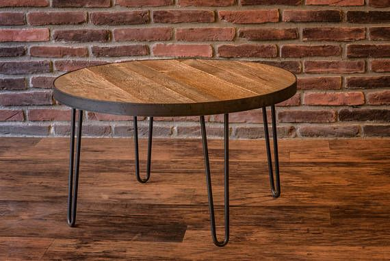 Round Reclaimed Wood Table With Steel Band And Hairpin Legs These