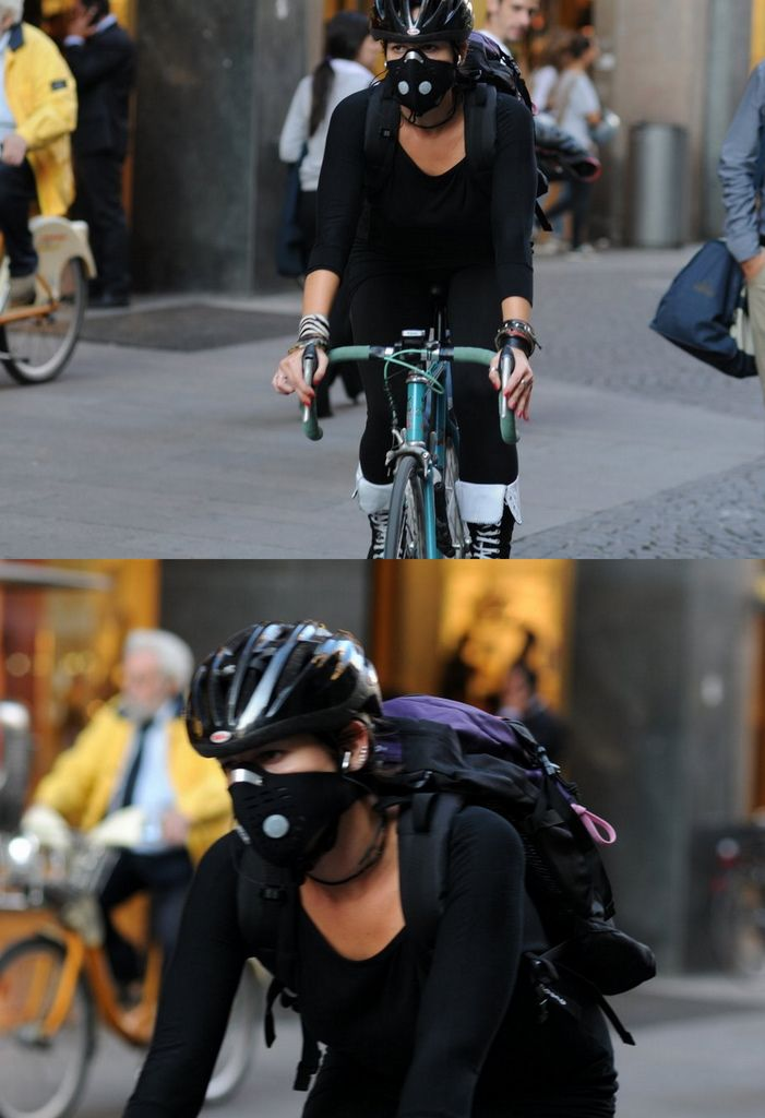 Is the mask for the Zombie Apocolypse, to conceal identity, filter air or because she is Hannibal Lecter!!!