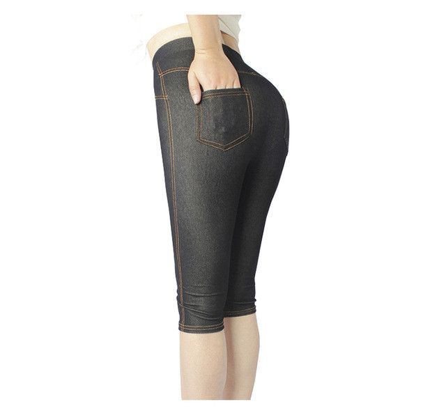 bff6cae17b8dc ERAEYE Women High Elastic Sexy Faux Jeans Leggings Plus Size Xl-5XL  Imitation Jeans Knee Length Pants Skinny Denim Soft Leggings