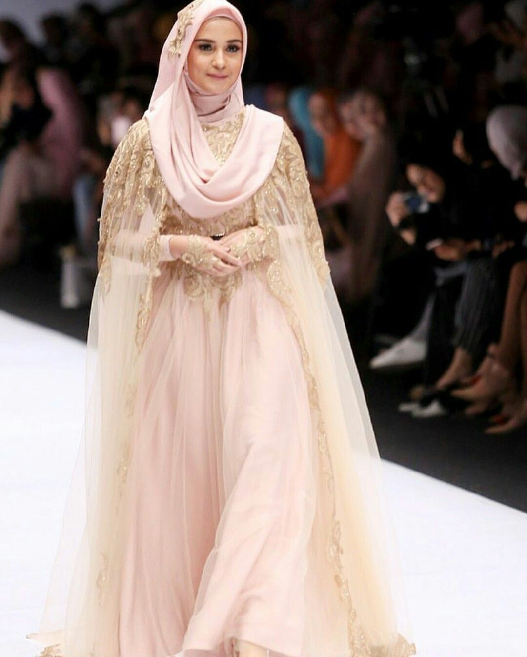 I like the idea of a cape to make the dress more modest for Muslim wedding dress photo