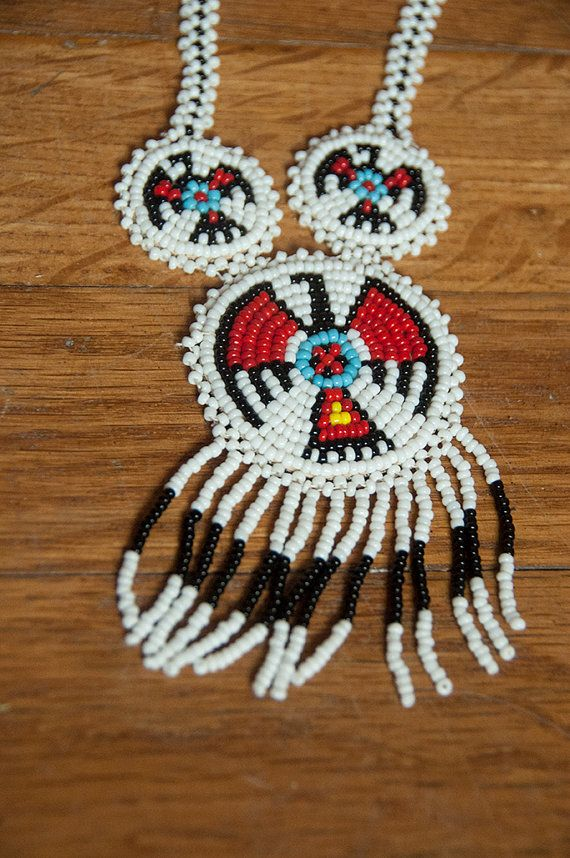 White Native American Seed Beaded Fringe by