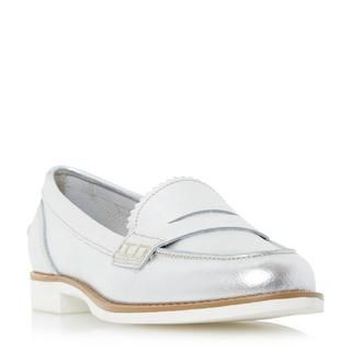 DUNE LADIES GLEAM - White Sole Penny Loafer Shoe - silver | Dune Shoes  Online