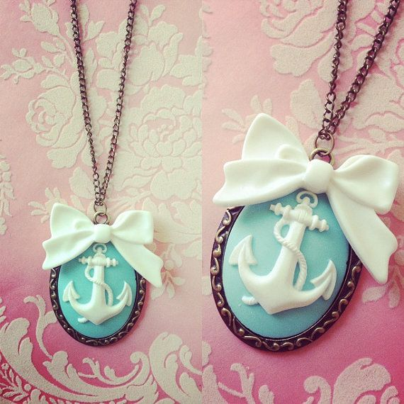 Pastel Aqua Nautical Bow Anchor Cameo Necklace by thirtyonewest