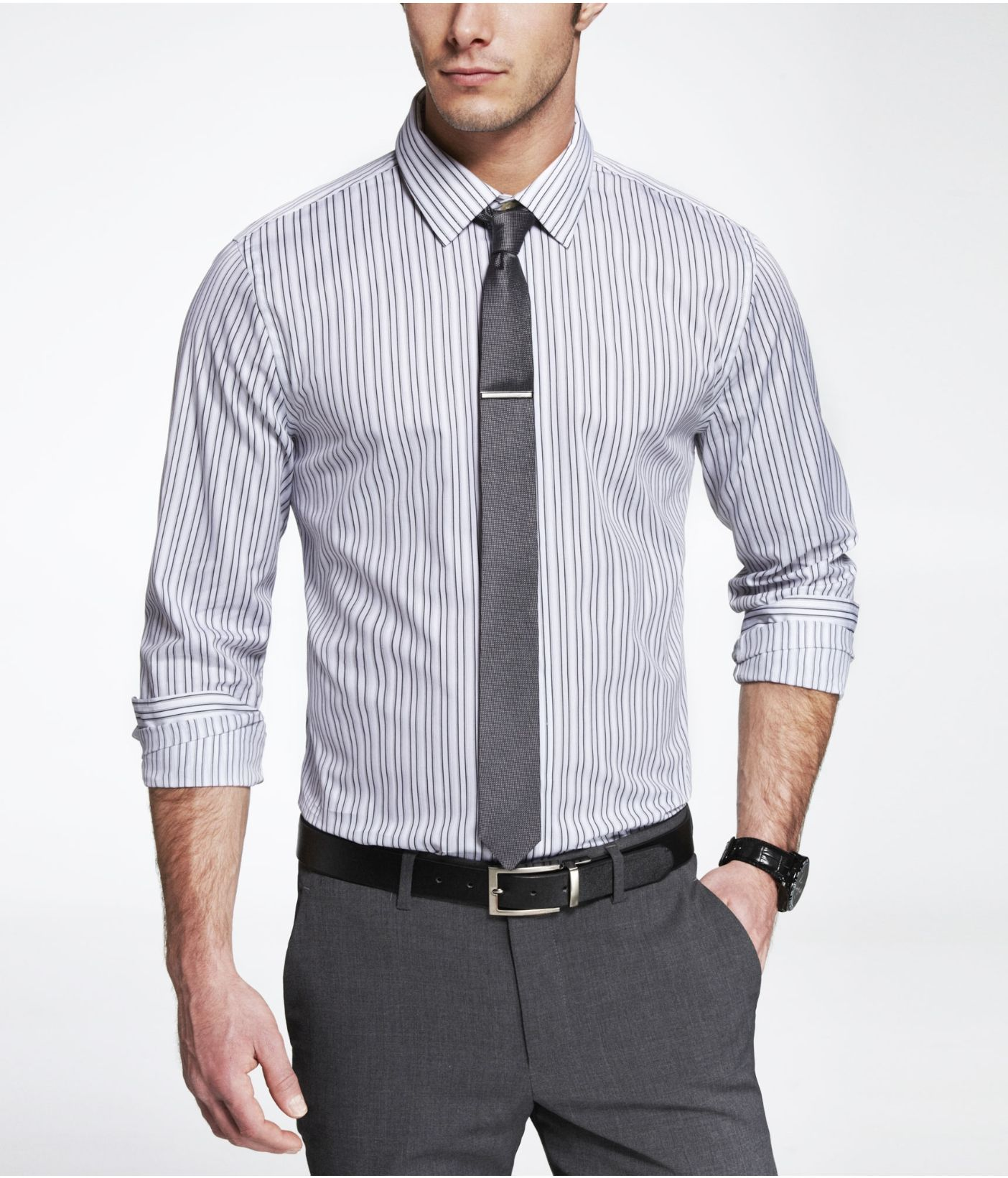 gray striped dress shirt, gray tie, gray pants, black belt ...