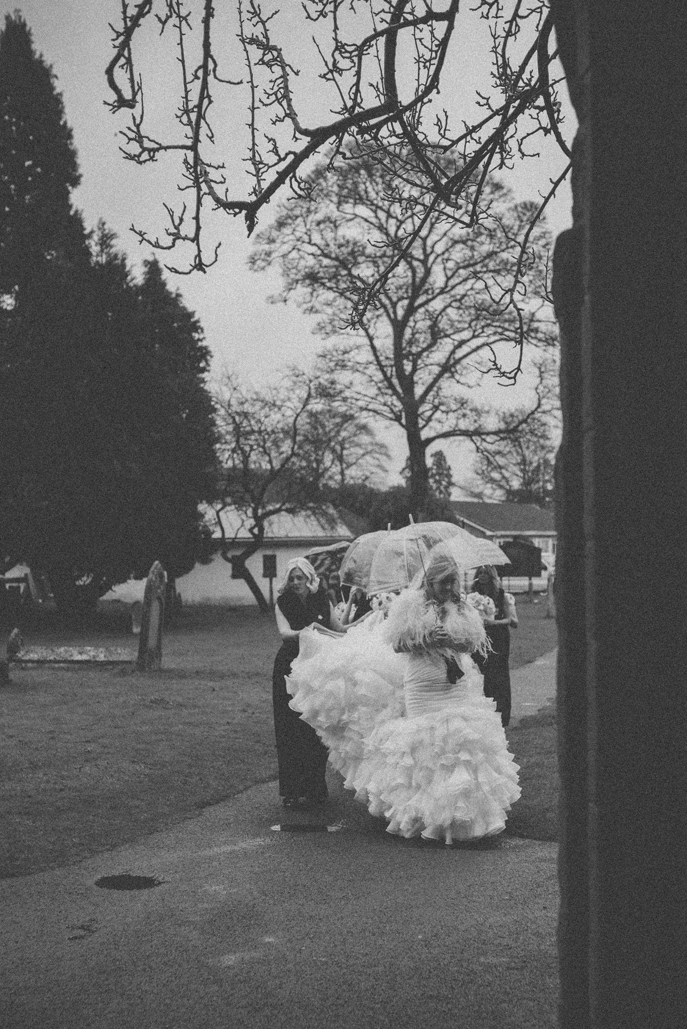 Winter wedding rain umbrella