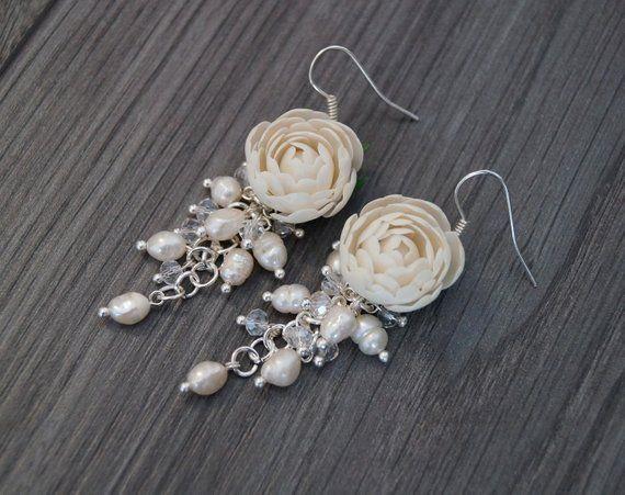 5df543063 Polymer clay earrings, polymer clay peonies, Peonies earrings, White  peonies jewelry