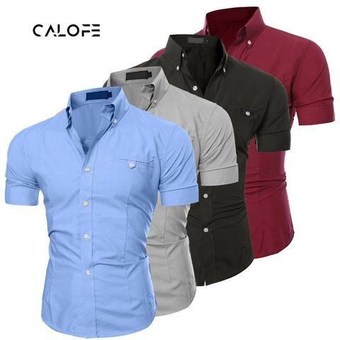 33fb21fec70 CALOFE New Men Shirts 2018 Male Short Sleeve Solid Button Shirts Casual  Metal Buckle Hit Color Slim Fit Black Mens Dress Shirts