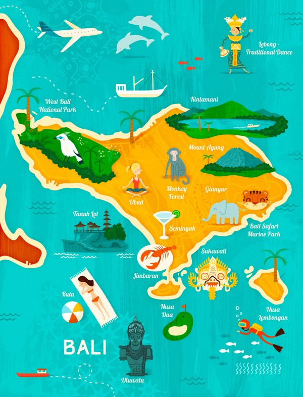 Bali Carte Continent.Map Of Bali For Garuda Indonesia By Wesley Robins