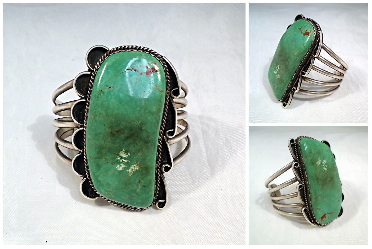 Vintage turquoise and sterling southwestern silver cuff bracelet.