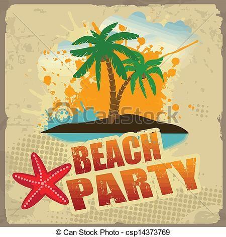 Tropical Beach Party Poster Vintage Beach Party Party Poster Vintage Beach Posters