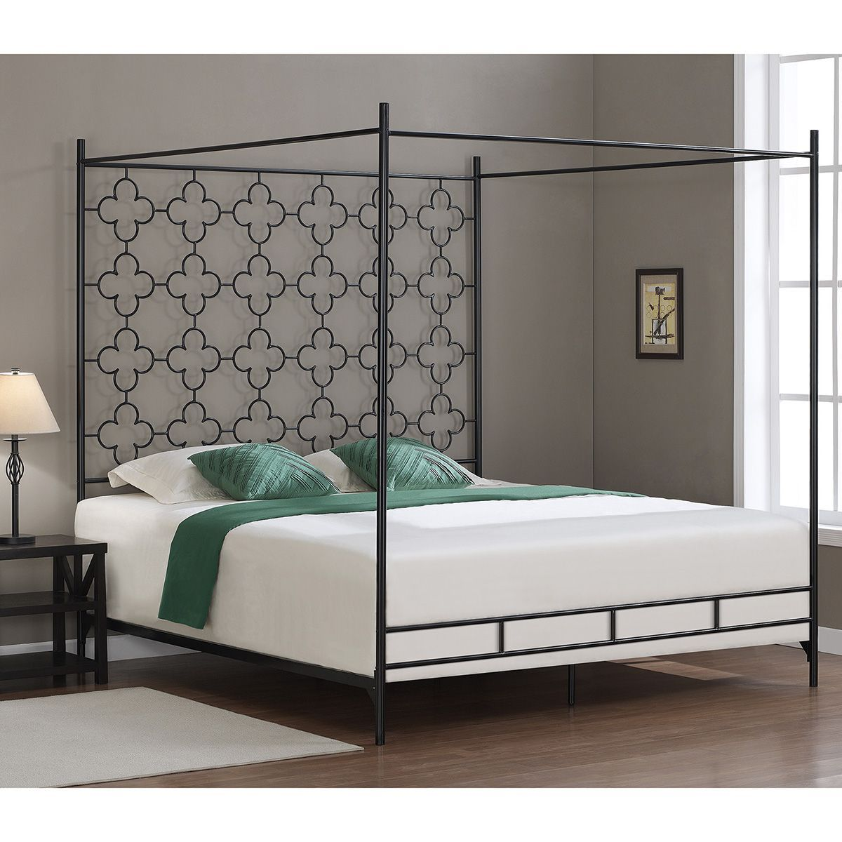 The Curated Nomad Quatrefoil King Canopy Bed Canopy bed