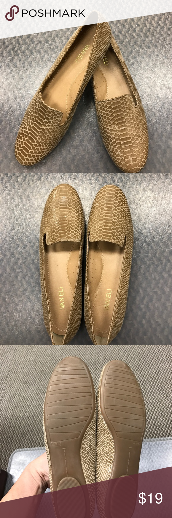 New Flats Vaneli Italian styled Khaki flats never worn. Made for extreme comfort. These are 8.5 narrow and a must have! Vaneli Shoes Flats & Loafers