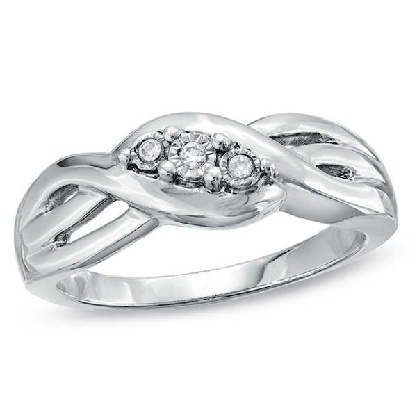 Diamond Accent Three Stone Braided Band in Sterling Silver