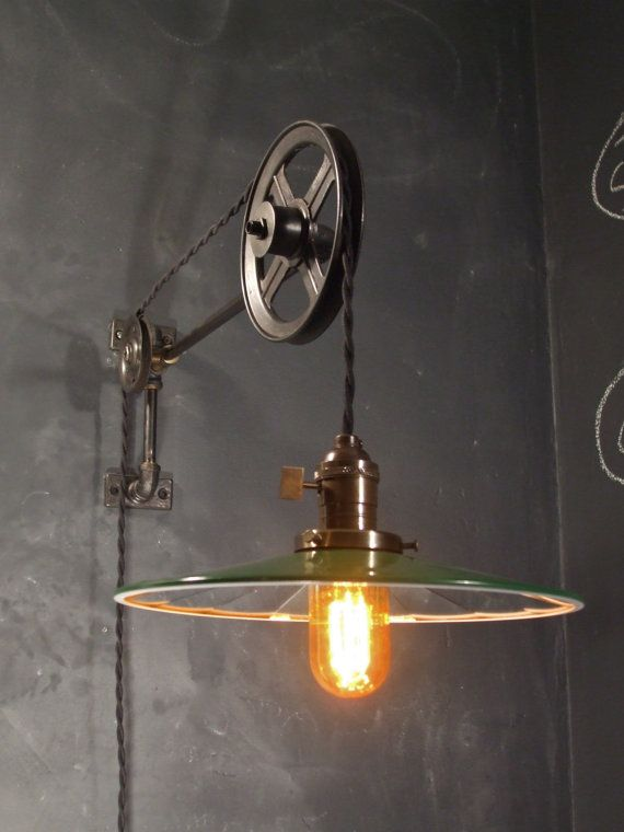 vintage industrial pulley sconce mirrored shade wall mount light machine age trouble lamp. Black Bedroom Furniture Sets. Home Design Ideas