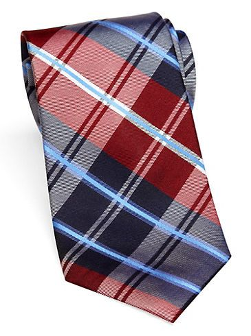 Ties - Nautica Red Block Plaid Tie - Men's Wearhouse