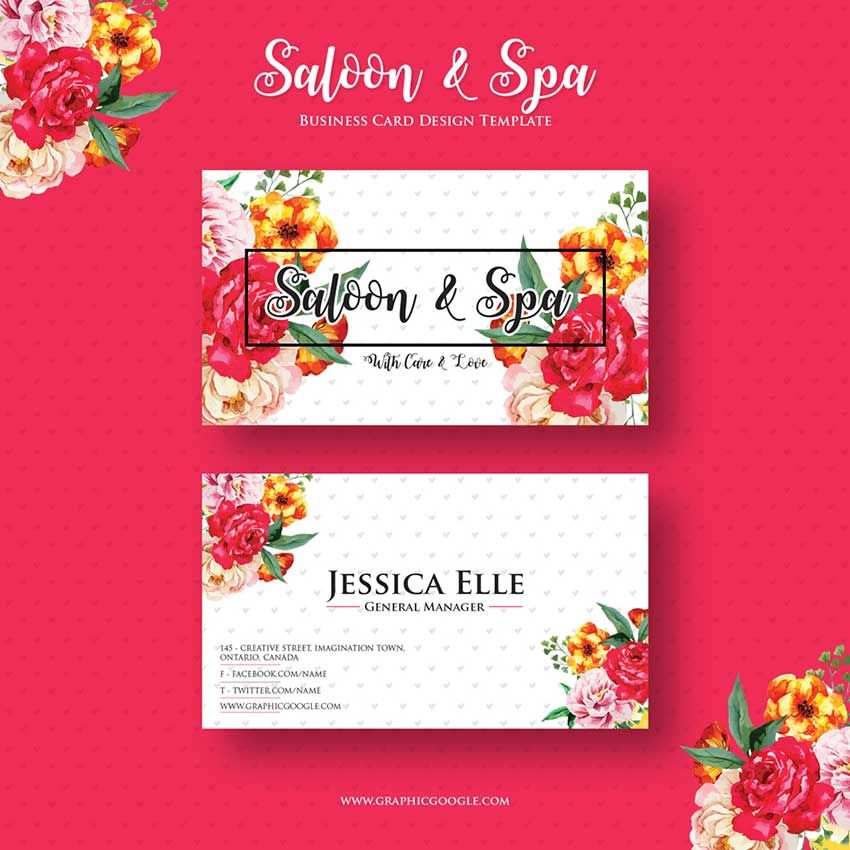 Free saloon spa business card design template business card free saloon spa business card design template reheart Image collections