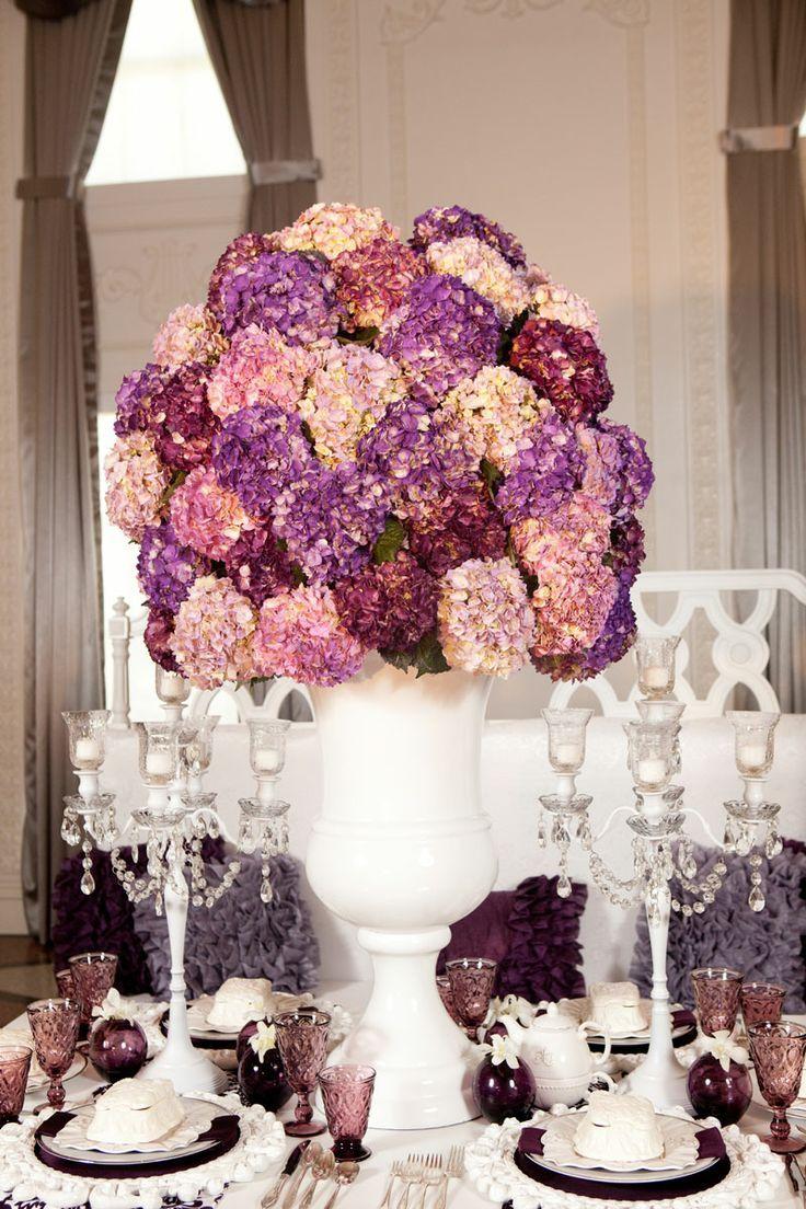 Wedding decoration ideas purple  Romantic Timeless Floral Wedding Centerpieces  Purple wedding