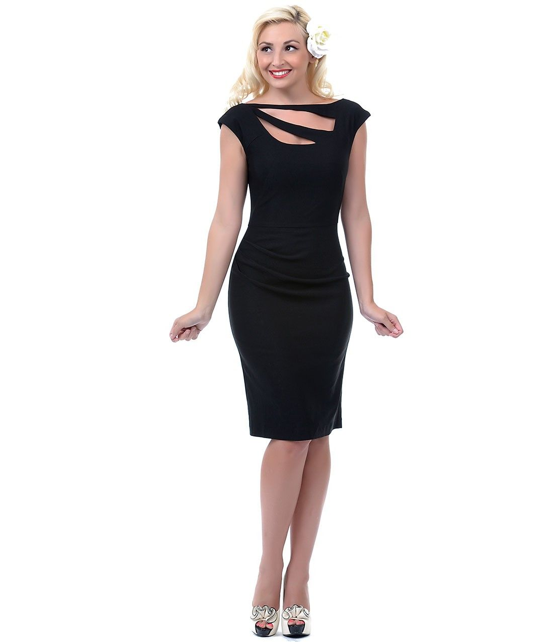 Unique vintage black crawford sliced top wiggle dress vestido