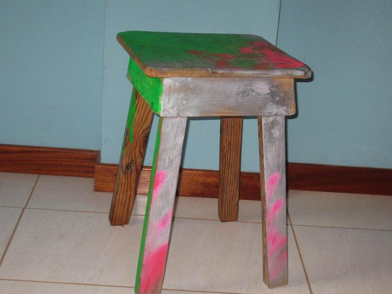 small wooden stool hand painted for adults or your childs room.