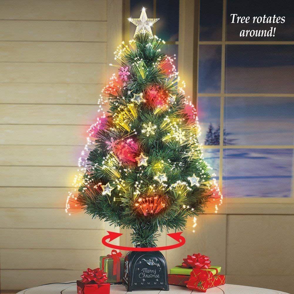 Collections Etc Rotating Fiber Optic Tabletop Christmas Tree