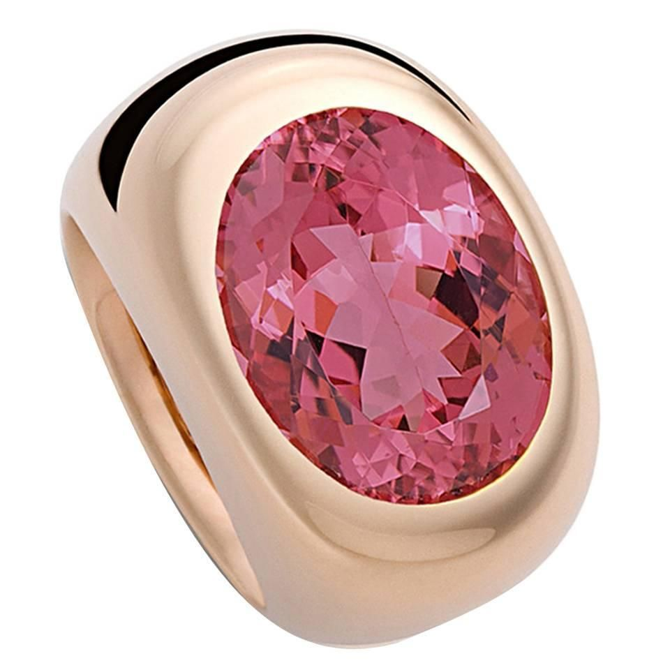 Colleen B. Rosenblat Pink Tourmaline Gold Ring   From a unique collection of vintage more rings at https://www.1stdibs.com/jewelry/rings/more-rings/