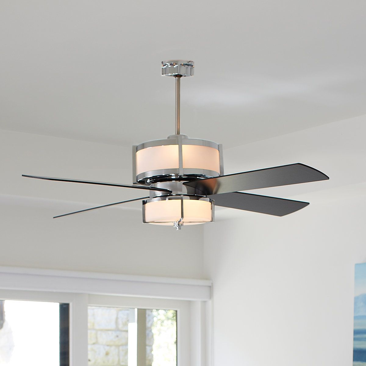 Modern Fan With Lighting Ideas For Contemporary Bedroom: Upscale Modern Ceiling Fan Black