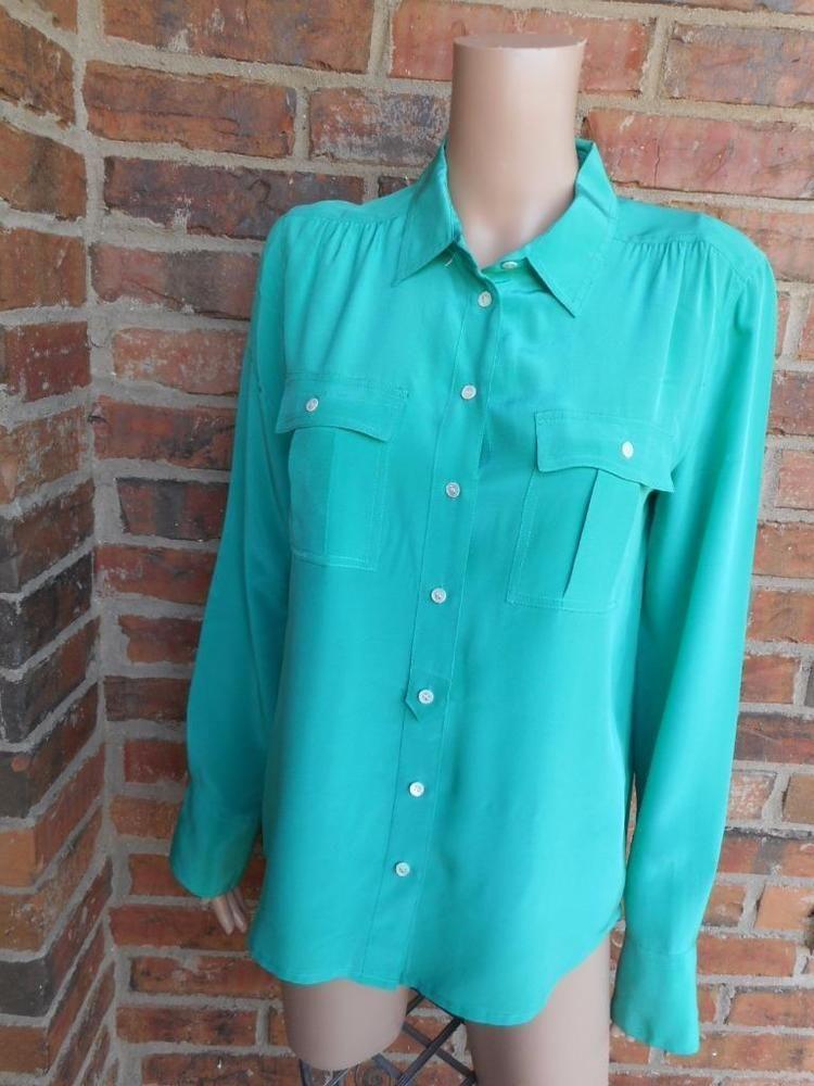 3b569036 J.CREW $110 Blythe Blouse Size 6 Women 100% Silk Shirt 37871 Long Sleeve  Pockets #JCrew #Blouse #Casual