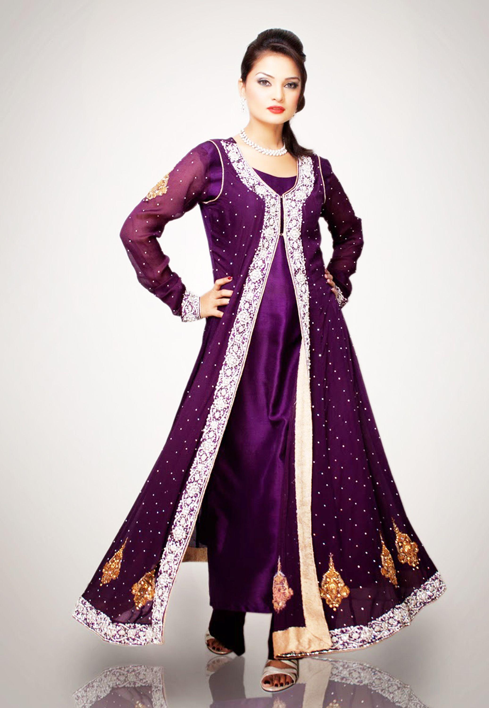 Shirt design ideas pakistani - Pakistani Open Shirt Designs 2014 Frock With Churidar Pajama