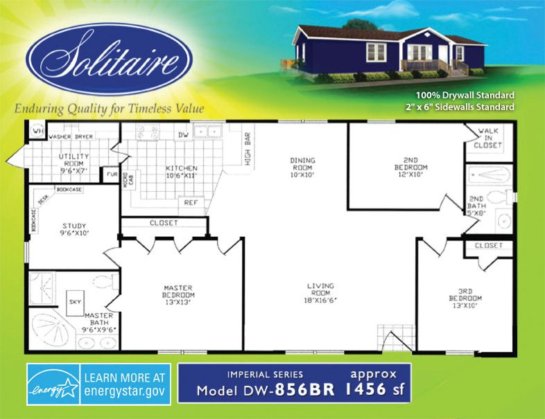 A great 1456 square foot double wide floorplan! | Mobile ... on large modular home plans, large mobile home kitchens, 18' wide mobile home plans, large manufactured homes, clayton mobile homes floor plans, fema house floor plans, triple wide manufactured home plans, large custom modular homes, small modular homes floor plans,