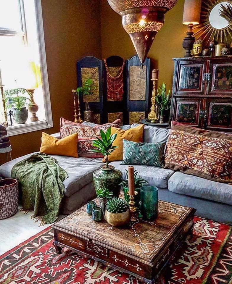 Regulsr sectional couch with decorative pillows hippie living room moroccan decor bohemian also best decoration images future house homes nice houses rh pinterest