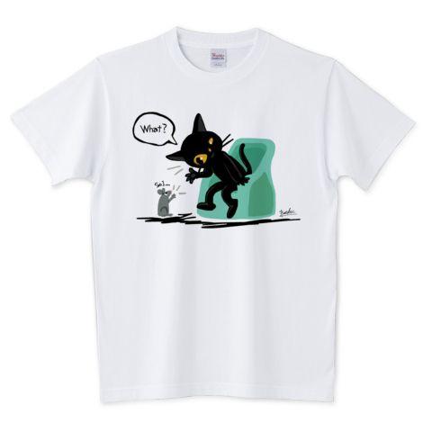 SOLD! 聞く耳を持つ猫 5.6オンスTシャツ (Printstar) by BATKEI #ttrinity #cat #猫 #cats #feline #tshirts #clothing #Tシャツ