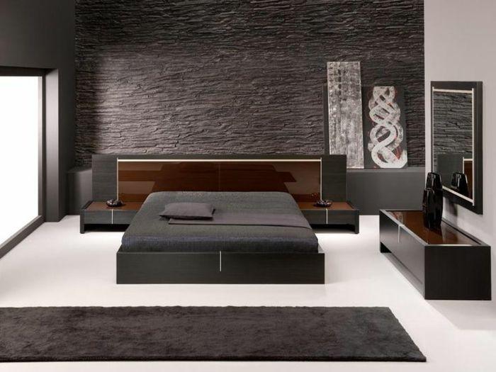 steinwand anthrazit farbe bettgestell teppichläufer minimalistisch - steinwand farbe