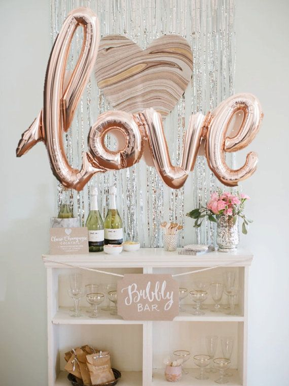 Love script rose gold mylar balloons party celebration for Rosegold deko