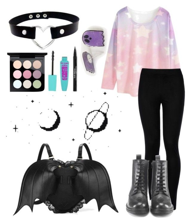 """Pastel Goth"" by unikittin on Polyvore featuring WithChic, Wolford, Hera, MAC Cosmetics and Trish McEvoy"