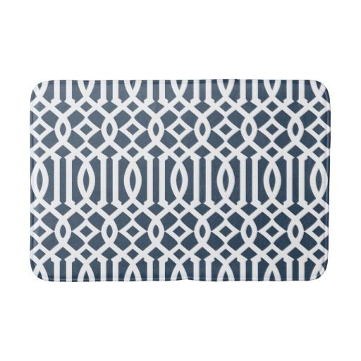 Modern Navy And White Imperial Trellis Bathroom Mat Zazzle Com