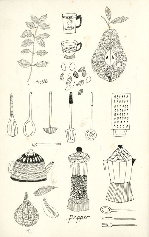 Food illustrations. Katfrankillustrations  Naive shapes, simply hand drawn