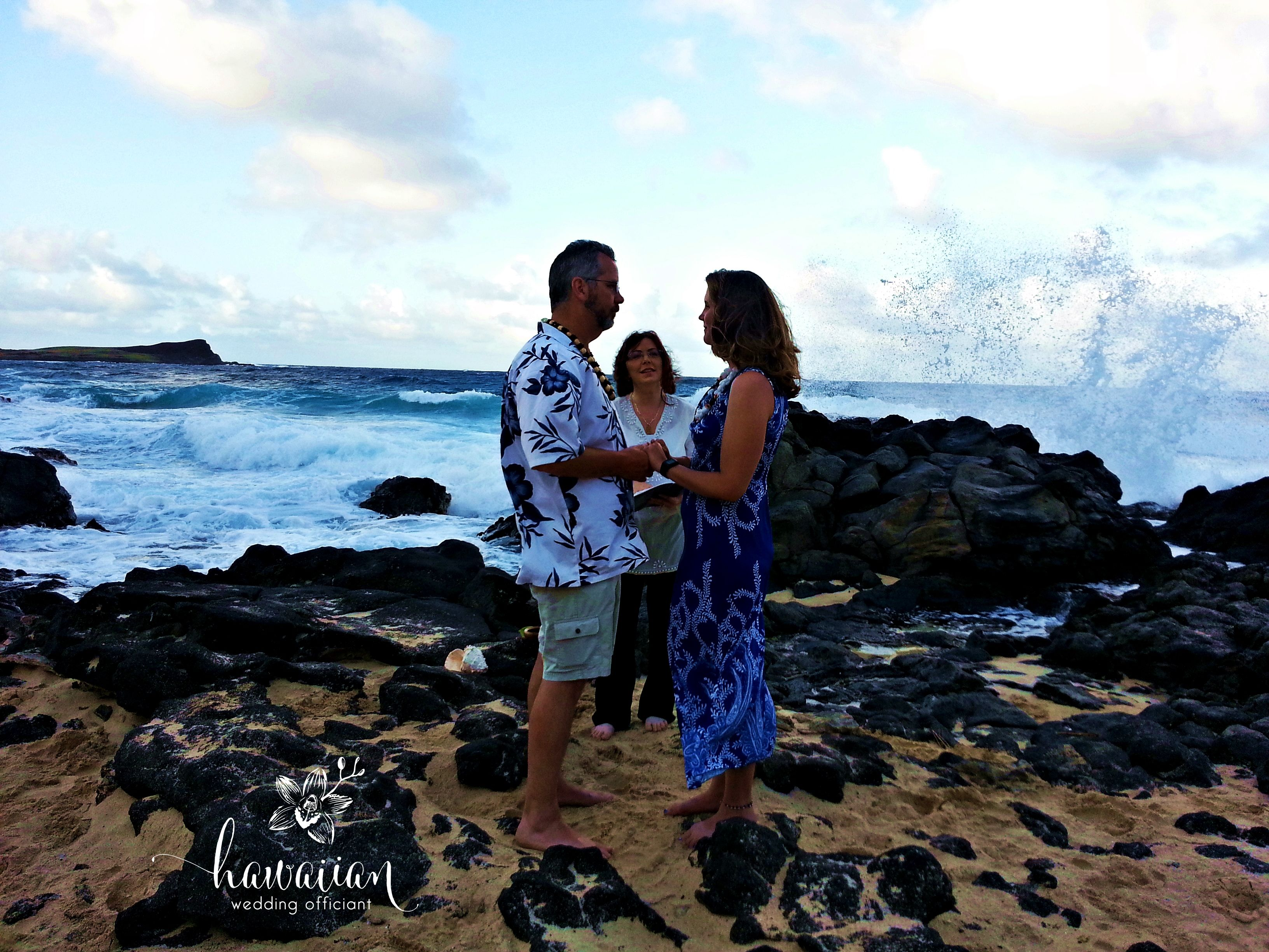 Makapuu ceremony at sunset. Look at those waves behind us! Wow!