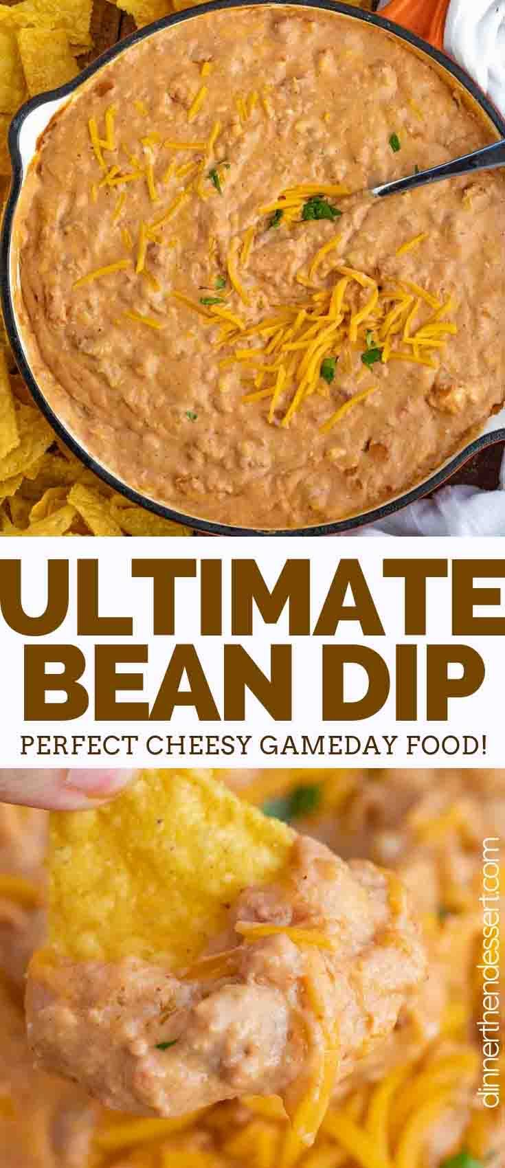 Ultimate Bean Dip made with refried beans, cream cheese, salsa, cheddar, and taco seasoning is the ultimate party dip, and is ready in only 5 minutes! #dip #appetizer #superbowl #party #tailgating #withcreamcheese #cheesy #homemade #best #taco #simple #dinnerthendessert #appetizersforparty