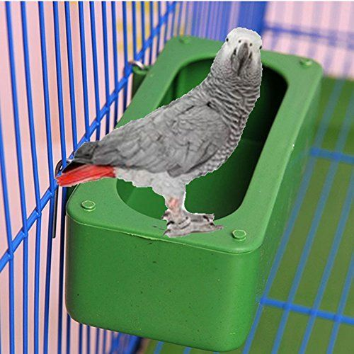 Bird food feeding dish water feeder bowl with holder hook for Bird food holder
