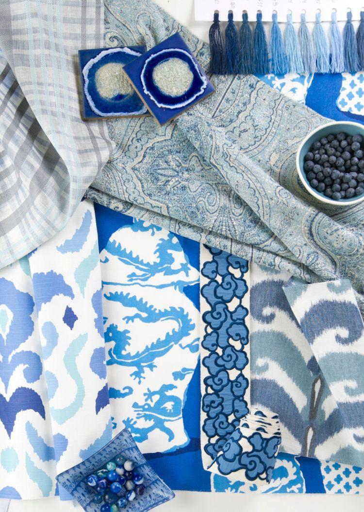 Ikat Muster  Ethno Motive Stoffe Blau Weiss Exotisch