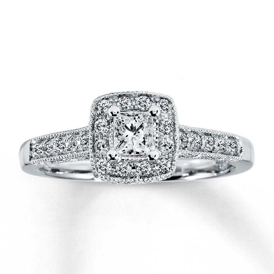 diamond engagement ring 12 ct tw princess cut 14k white gold - Princess Cut Wedding Ring